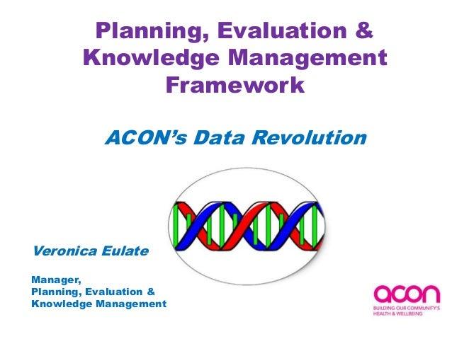 Planning, Evaluation &Knowledge ManagementFrameworkACON's Data RevolutionVeronica EulateManager,Planning, Evaluation &Know...