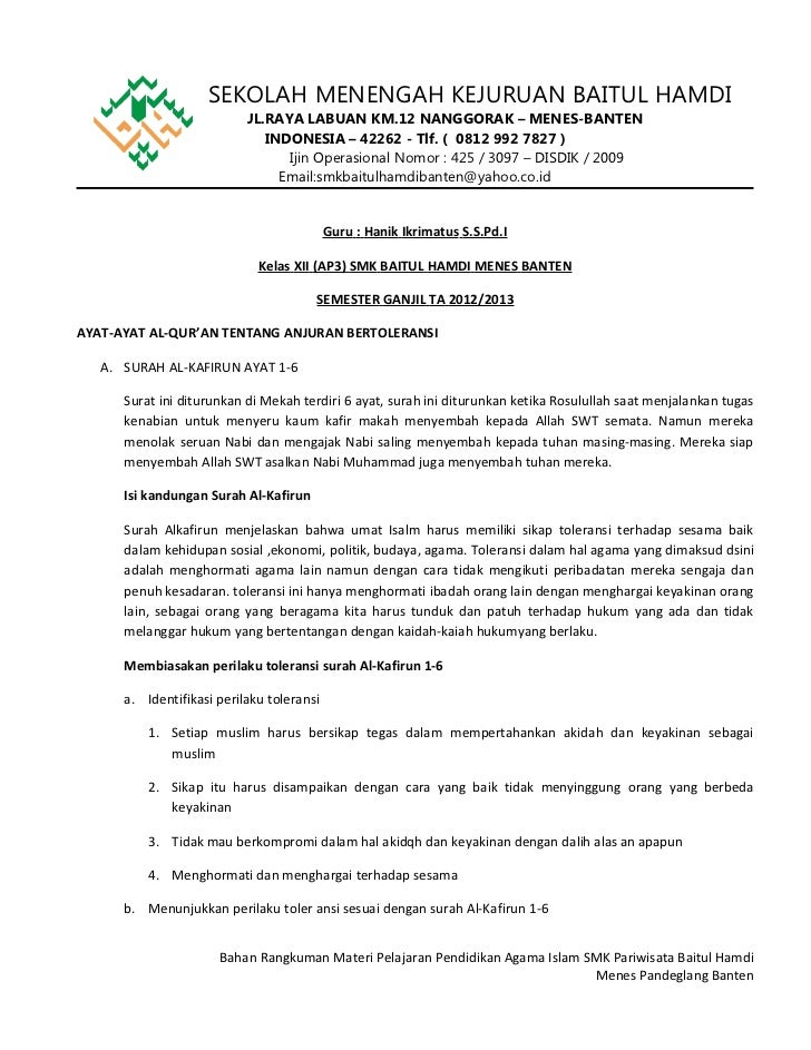 Pelajaran Pai Smk Pariwisata Baitul Hamdi Ap3