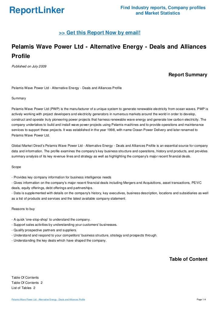 Pelamis Wave Power Ltd - Alternative Energy - Deals and