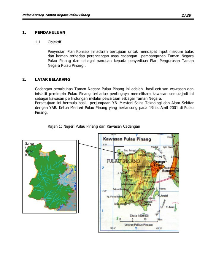 1/20 Pelan Konsep Taman Negara Pulau Pinang     1.       PENDAHULUAN           1.1   Objektif                 Penyedian Pl...