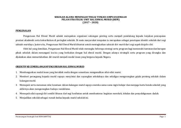 Perancangan Strategik Unit HEM SAMTTAJ Page 1 SEKOLAH AGAMA MENENGAH TINGGI TENGKU AMPUAN JEMAAH PELAN STRATEGIK UNIT HAL ...