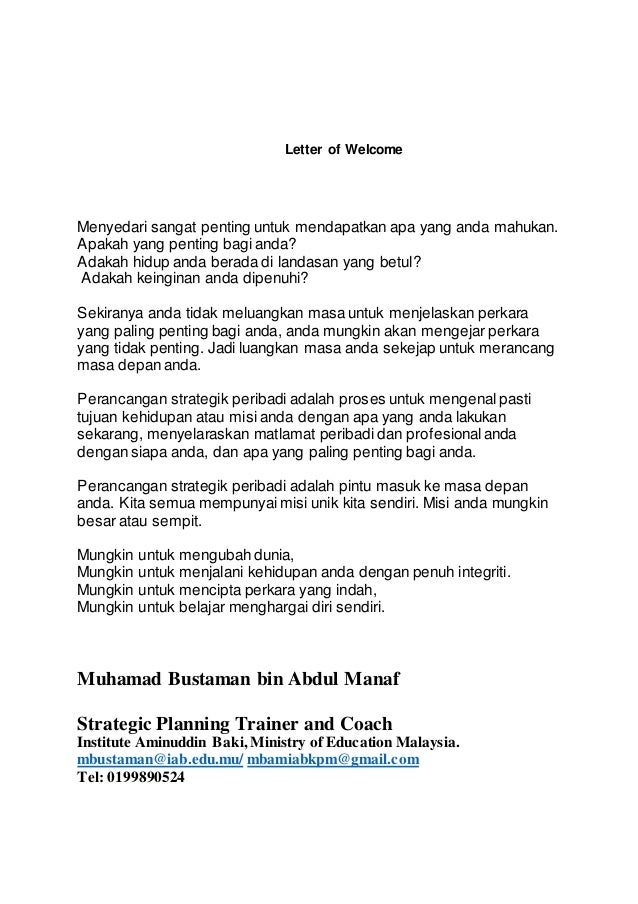 Pelan strategik personal/personal strategic planning Slide 3