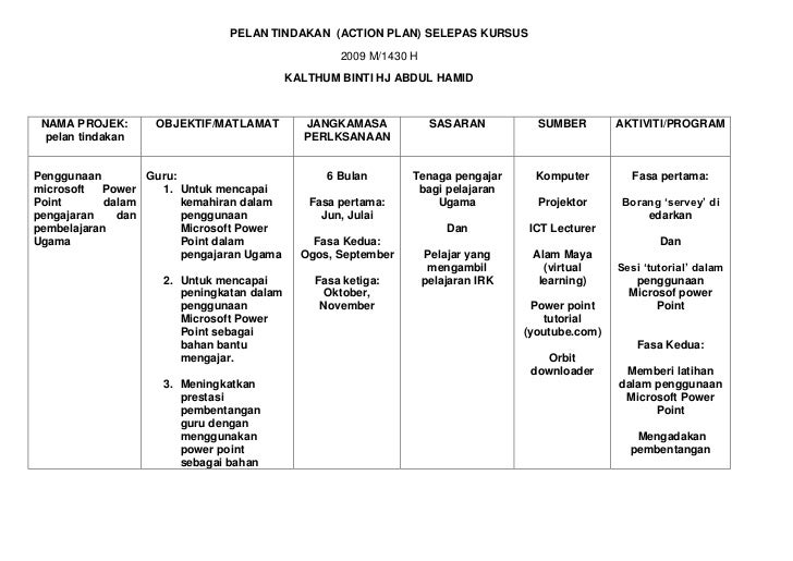PELAN TINDAKAN  (ACTION PLAN) SELEPAS KURSUS<br />2009 M/1430 H<br />KALTHUM BINTI HJ ABDUL HAMID<br /><ul><li>NAMA PROJEK...