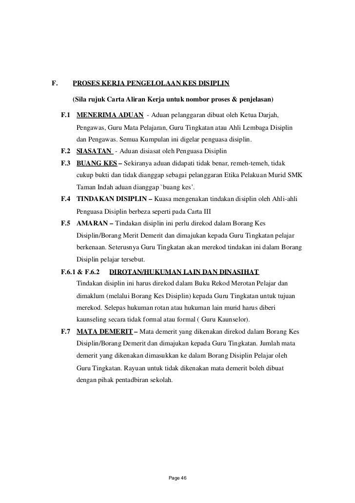 F.       PROSES KERJA PENGELOLAAN KES DISIPLIN         (Sila rujuk Carta Aliran Kerja untuk nombor proses & penjelasan)   ...