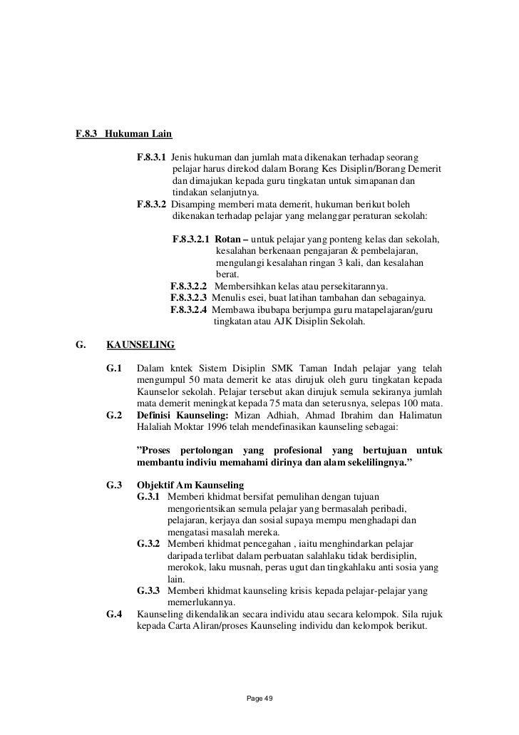 F.8.3 Hukuman Lain           F.8.3.1 Jenis hukuman dan jumlah mata dikenakan terhadap seorang                   pelajar ha...