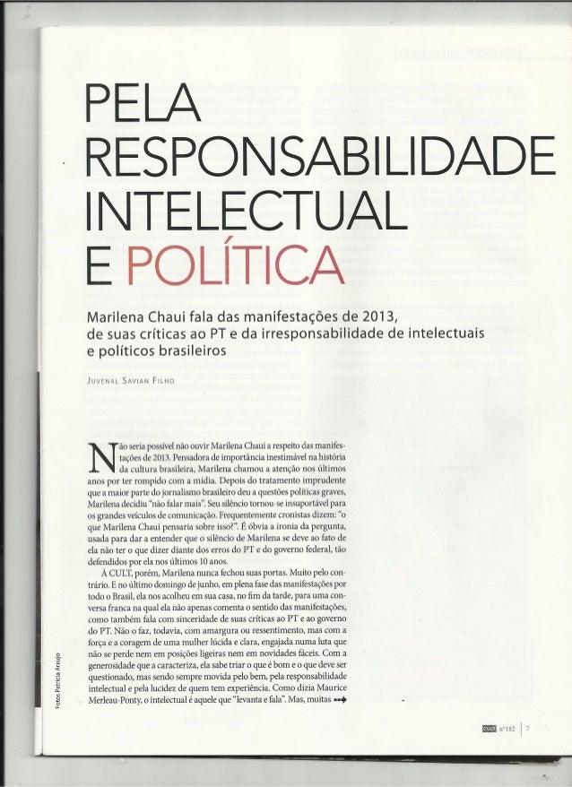 Pela responsabilidade intelectual e política