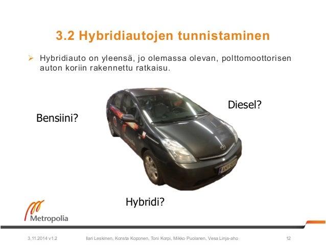 3.2 Hybridiautojen tunnistaminen  Ø Hybridiauto on yleensä, jo olemassa olevan, polttomoottorisen  auton koriin rakennett...