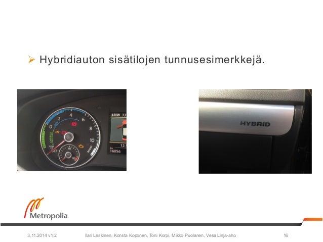 Ø Hybridiauton sisätilojen tunnusesimerkkejä.  Ilari Leskinen, Konsta Koponen, Toni Korpi, Mikko Puolanen, 3.11.2014 v1.2...