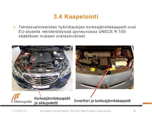 3.4 Kaapelointi  Ø Tehdasvalmisteisten hybridiautojen korkeajännitekaapelit ovat  EU-alueella rekisteröidyissä ajoneuvois...