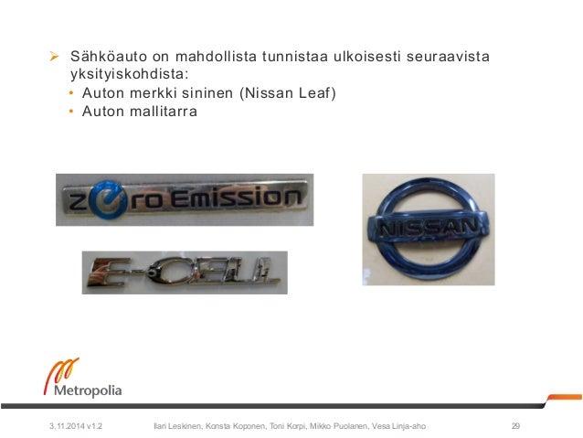 Ø Sähköauto on mahdollista tunnistaa ulkoisesti seuraavista  yksityiskohdista:  • Auton merkki sininen (Nissan Leaf)  • A...