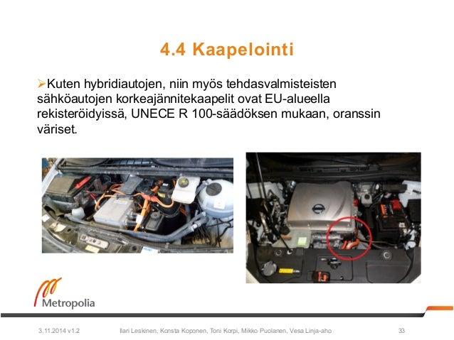 4.4 Kaapelointi  Ø Kuten hybridiautojen, niin myös tehdasvalmisteisten  sähköautojen korkeajännitekaapelit ovat EU-alueel...