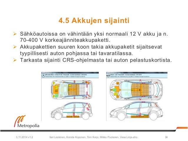 4.5 Akkujen sijainti  Ø Sähköautoissa on vähintään yksi normaali 12 V akku ja n.  70-400 V korkeajänniteakkupaketti.  Ø ...