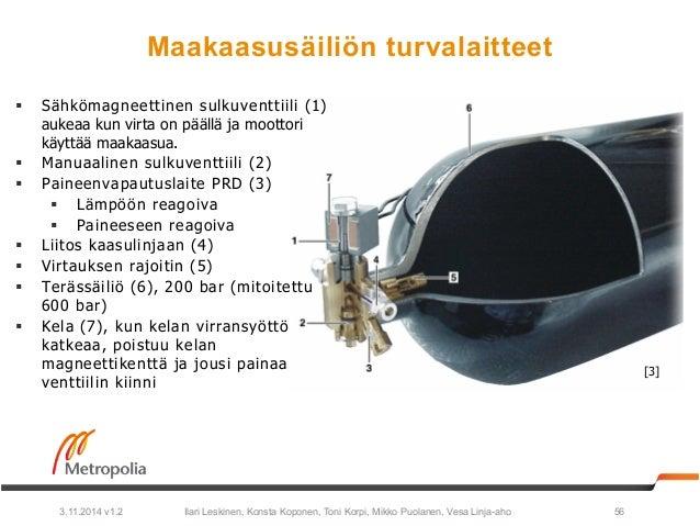 Maakaasusäiliön turvalaitteet  § Sähkömagneettinen sulkuventtiili (1)  aukeaa kun virta on päällä ja moottori  käyttää ma...