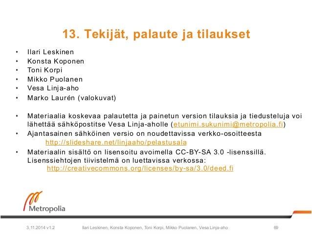 13. Tekijät, palaute ja tilaukset  • Ilari Leskinen  • Konsta Koponen  • Toni Korpi  • Mikko Puolanen  • Vesa Linja-aho  •...