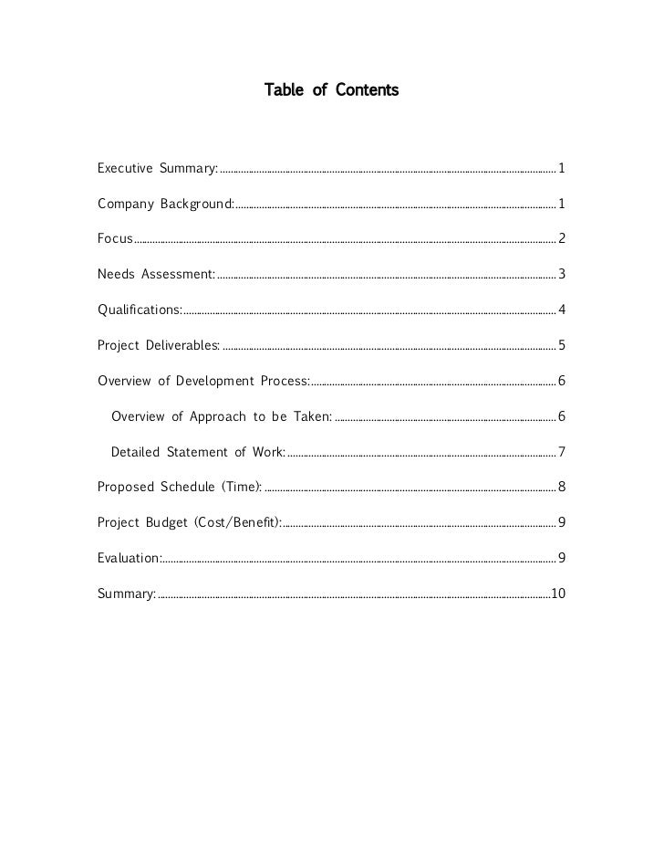 Table Of Content Research Paper Sample