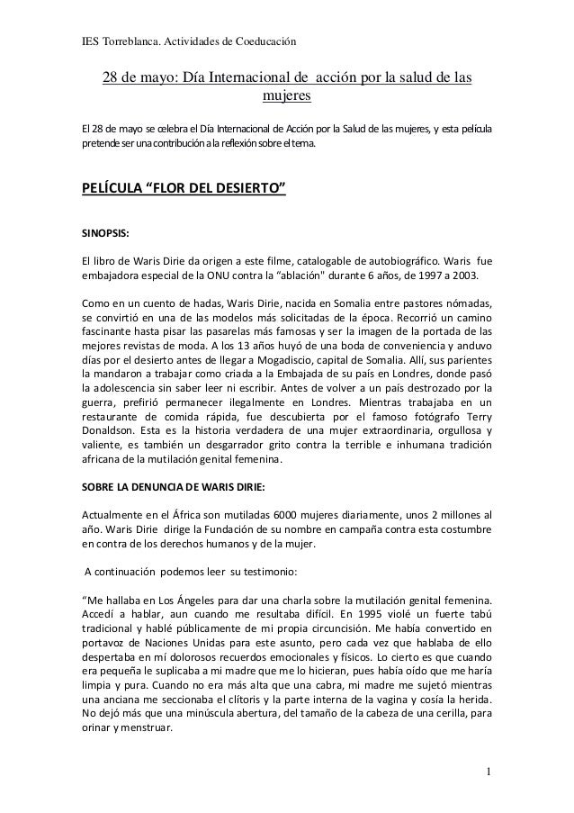 IES Torreblanca. Actividades de Coeducación128 de mayo: Día Internacional de acción por la salud de lasmujeresEl 28 de may...