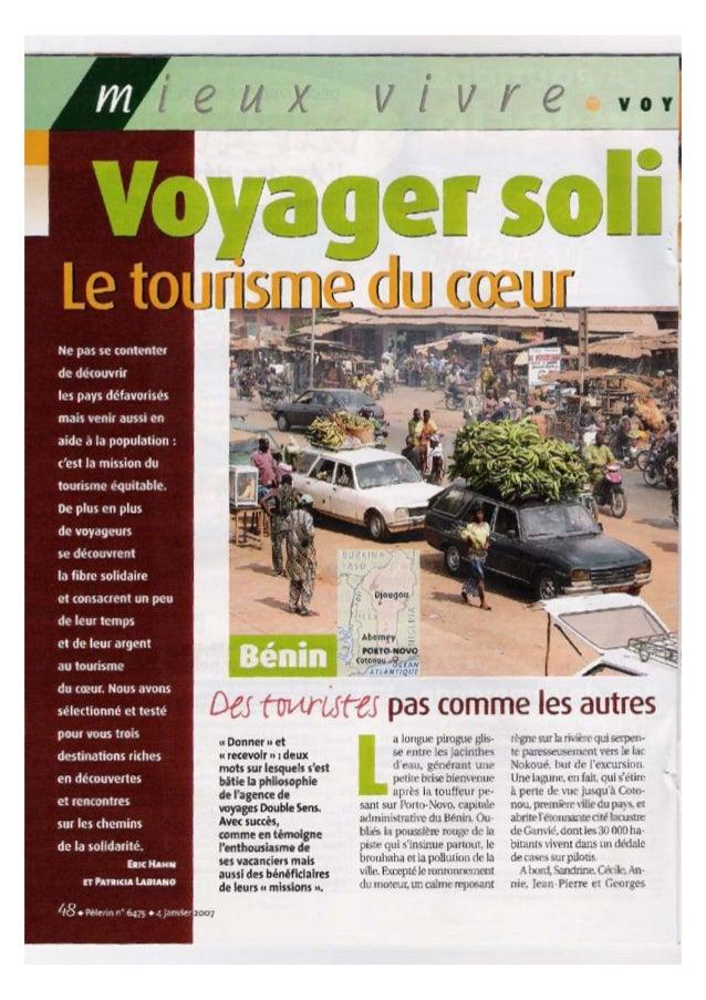 Parution Double Sens dans le magazine Pèlerin - Janvier 2007