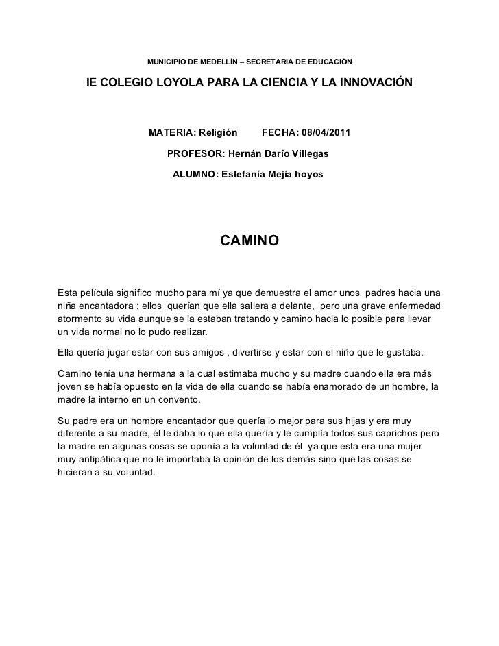 MUNICIPIO DE MEDELLÍN – SECRETARIA DE EDUCACIÓN      IE COLEGIO LOYOLA PARA LA CIENCIA Y LA INNOVACIÓN                    ...