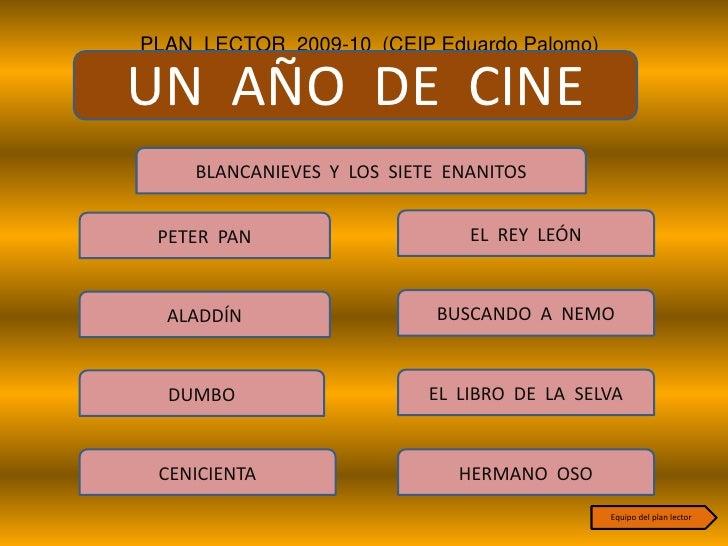 PLAN LECTOR 2009-10 (CEIP Eduardo Palomo)  UN AÑO DE CINE     BLANCANIEVES Y LOS SIETE ENANITOS    PETER PAN              ...