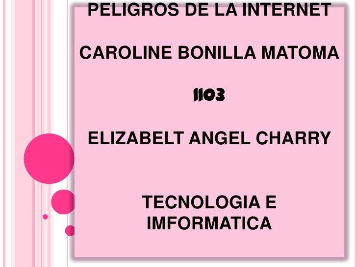 PELIGROS DE LA INTERNETCAROLINE BONILLA MATOMA          1103ELIZABELT ANGEL CHARRY     TECNOLOGIA E     IMFORMATICA