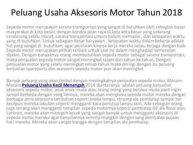 Peluang Usaha Aksesoris Motor Tahun 2018