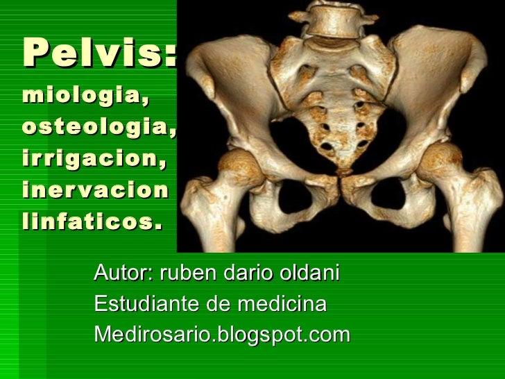 Pelvis:  miologia, osteologia, irrigacion, inervacion y  linfaticos. Autor: ruben dario oldani Estudiante de medicina Medi...