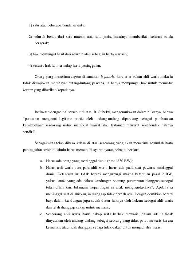 Contoh Surat Wasiat Kepada Ahli Waris