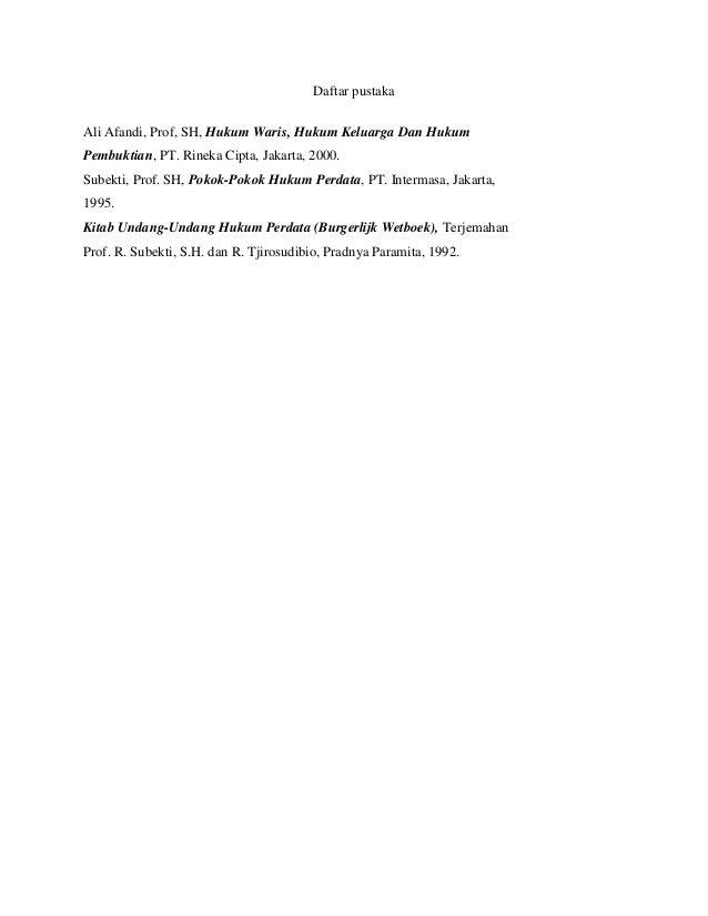 Pembagian Harta Warisan Berdasarkan Surat Wasiat Dan Uu