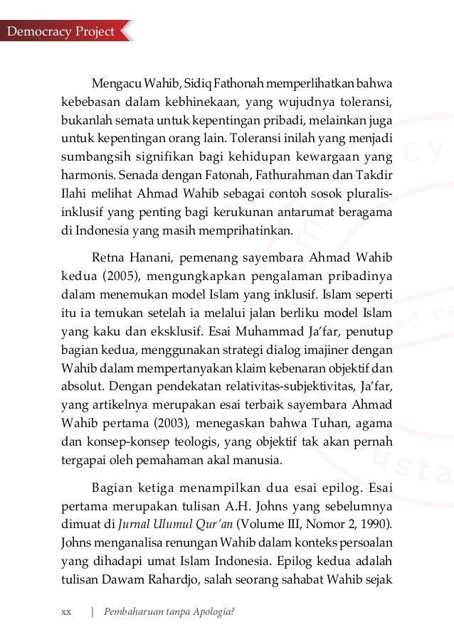Pembaharuan Tanpa Apologia Esai Esai Tentang Ahmad Wahib