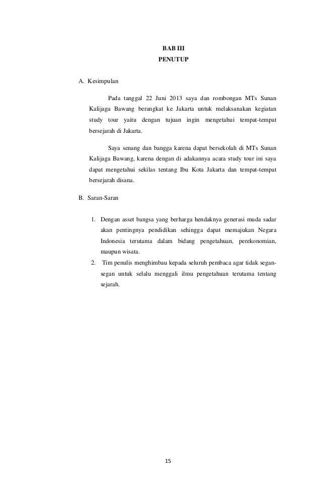 Contoh Laporan Study Tour Jakarta Bandung Jogjakarta Kumpulan Contoh Laporan