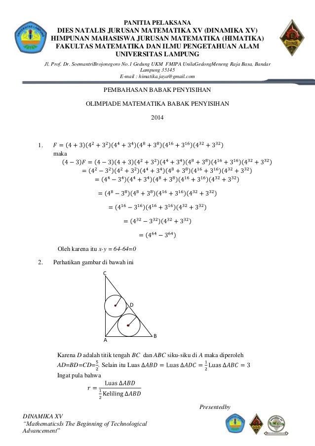 Pembahasan Olimpiade Matematika Sma Babak Penyisihan