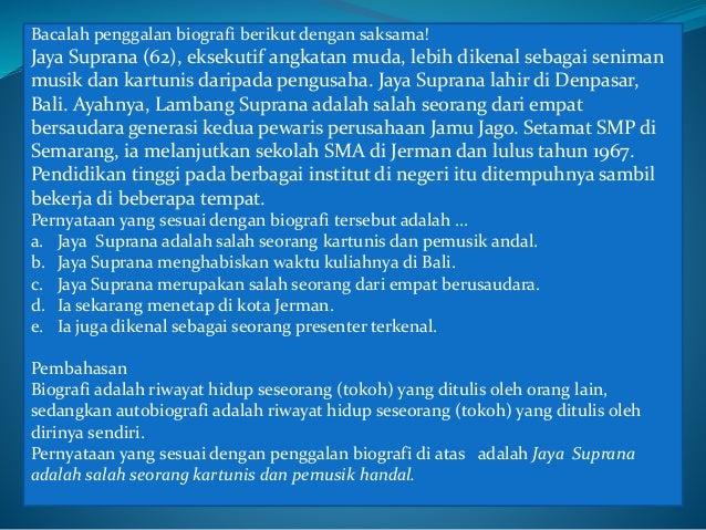 PEMBAHASAN CONTOH SOAL UJIAN NASIONAL (UN) BAHASA INDONESIA SMK 2015 Slide 3