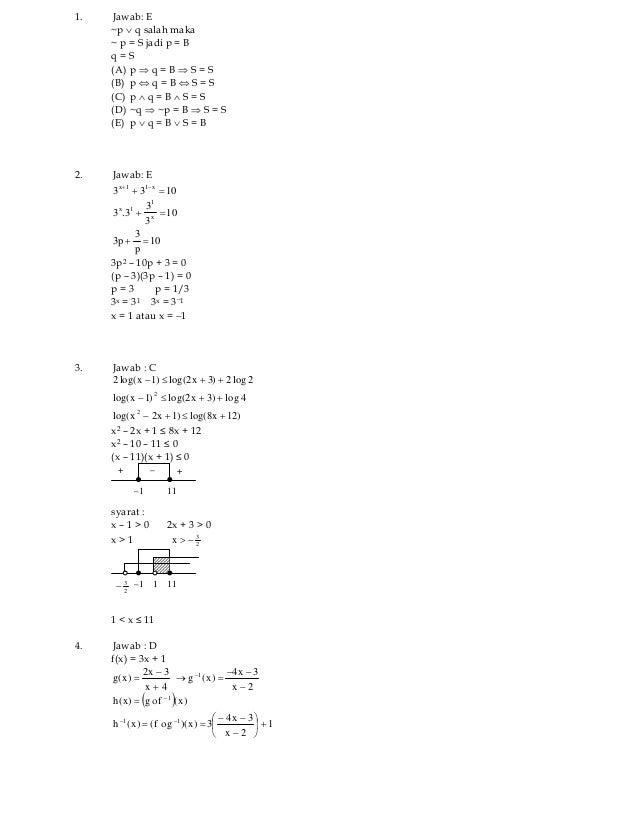 Copyright ©www.ujian.orgall right reservedSolusi Latihan Soal UN SMA / MA 2011Program IPAMata Ujian : MatematikaJumlah Soa...