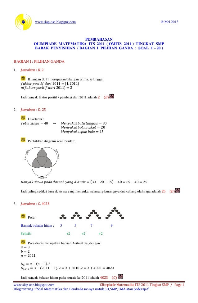 Pembahasan Olimpiade Matematika Its 2011 Tingkat Smp Babak Penyisihan