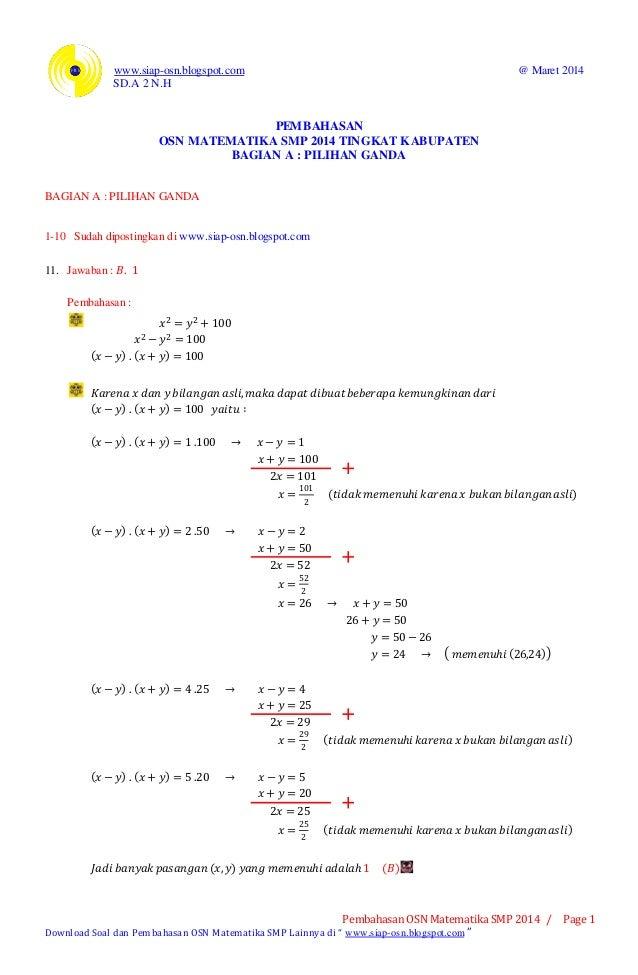 www.siap-osn.blogspot.com @ Maret 2014 SD.A 2 N.H Pembahasan OSN Matematika SMP 2014 / Page 1 Download Soal dan Pembahasan...