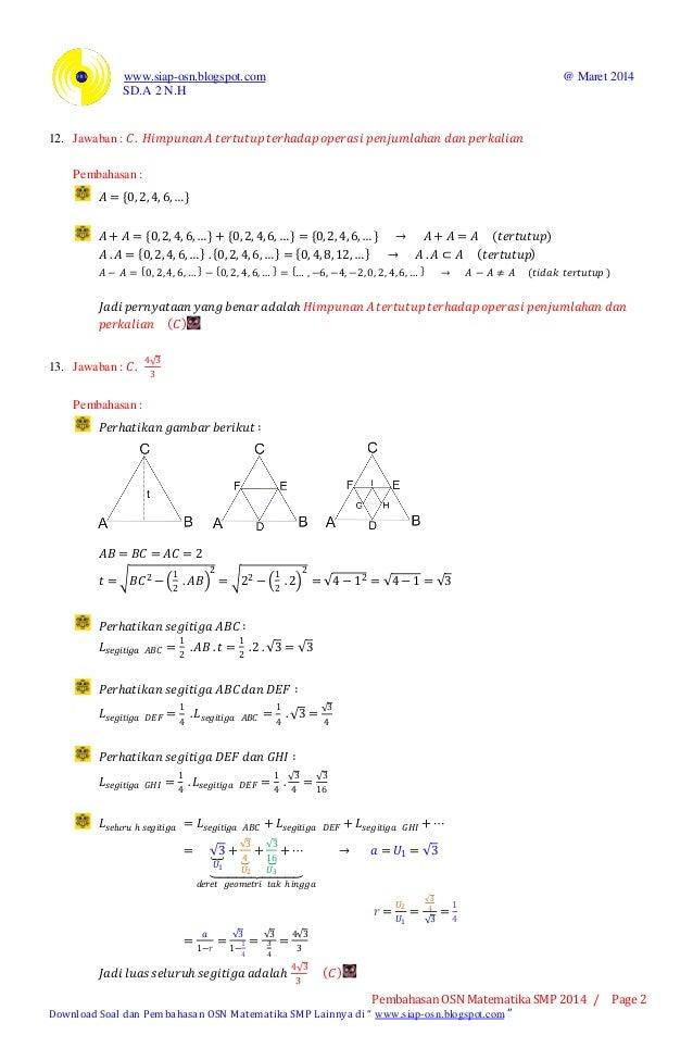 Pembahasan osn matematika smp 2014 tingkat kabupaten (bagian a pilihan ganda) 2 Slide 2