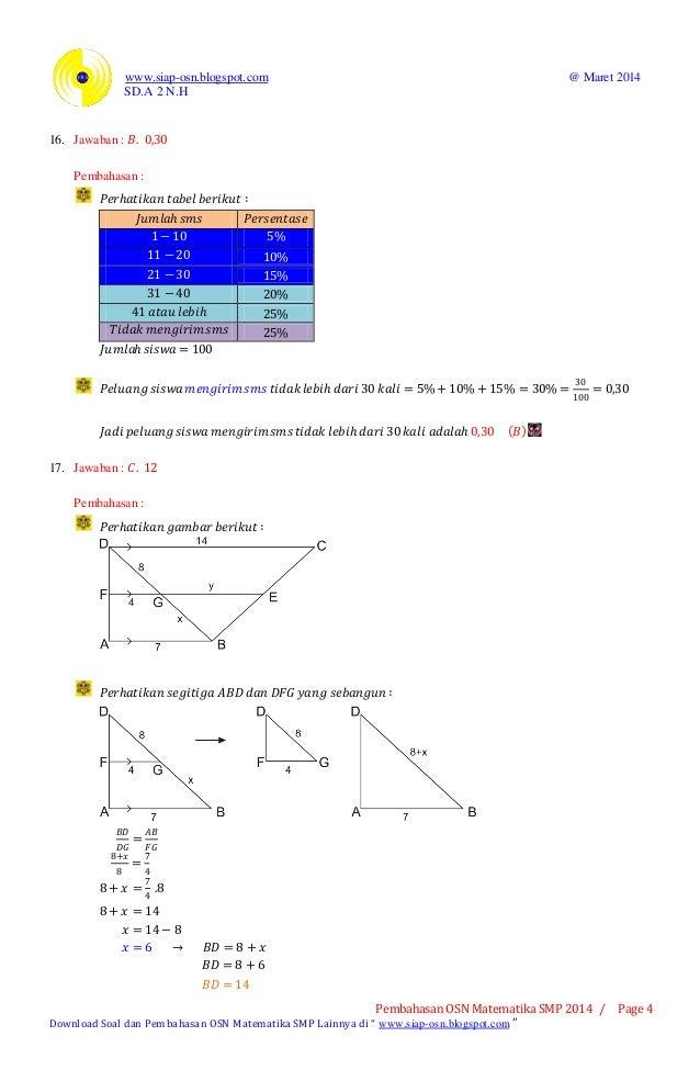 Pembahasan Osn Matematika Smp 2014 Tingkat Kabupaten Bagian A Piliha