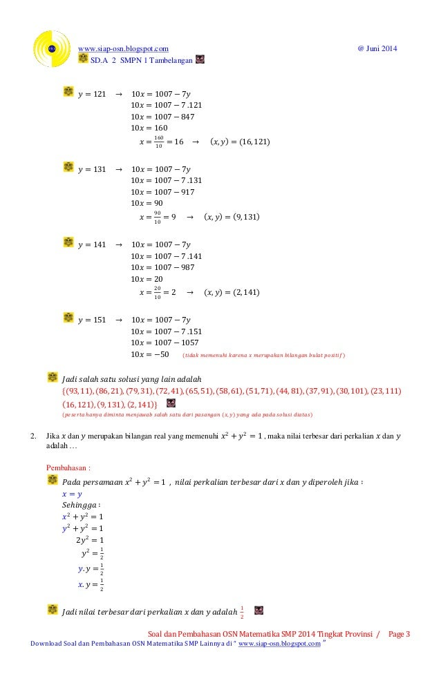 Pembahasan Osn Matematika Smp 2014 Tingkat Provinsi Bagian A Soal Is