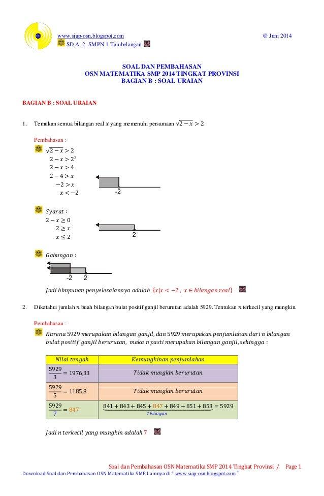 www.siap-osn.blogspot.com @ Juni 2014 SD.A 2 SMPN 1 Tambelangan Soal dan Pembahasan OSN Matematika SMP 2014 Tingkat Provin...