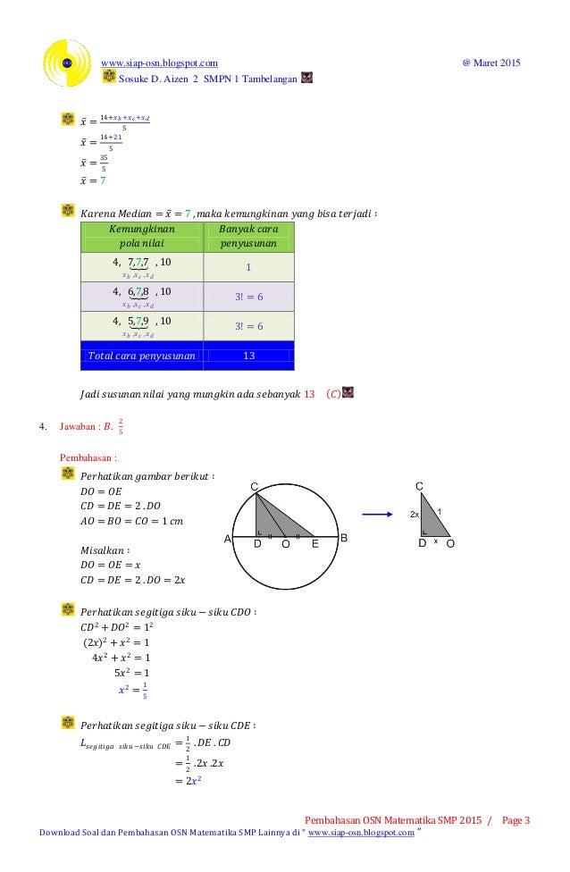 Pembahasan osn matematika smp 2015 tingkat kabupaten (bagian a pilihan ganda) Slide 3