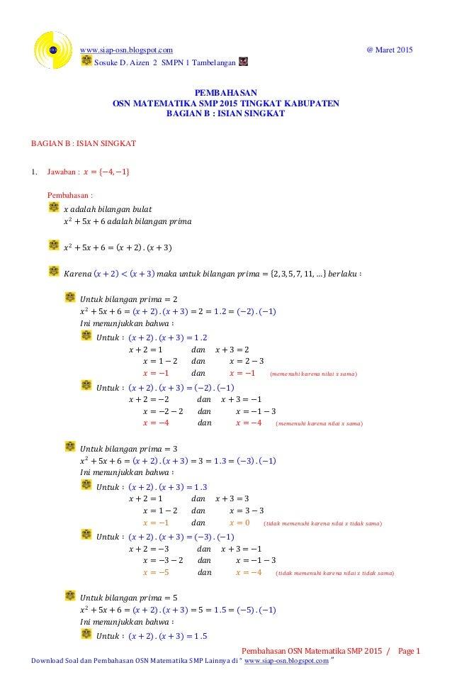 www.siap-osn.blogspot.com @ Maret 2015 Sosuke D. Aizen 2 SMPN 1 Tambelangan Pembahasan OSN Matematika SMP 2015 / Page 1 Do...