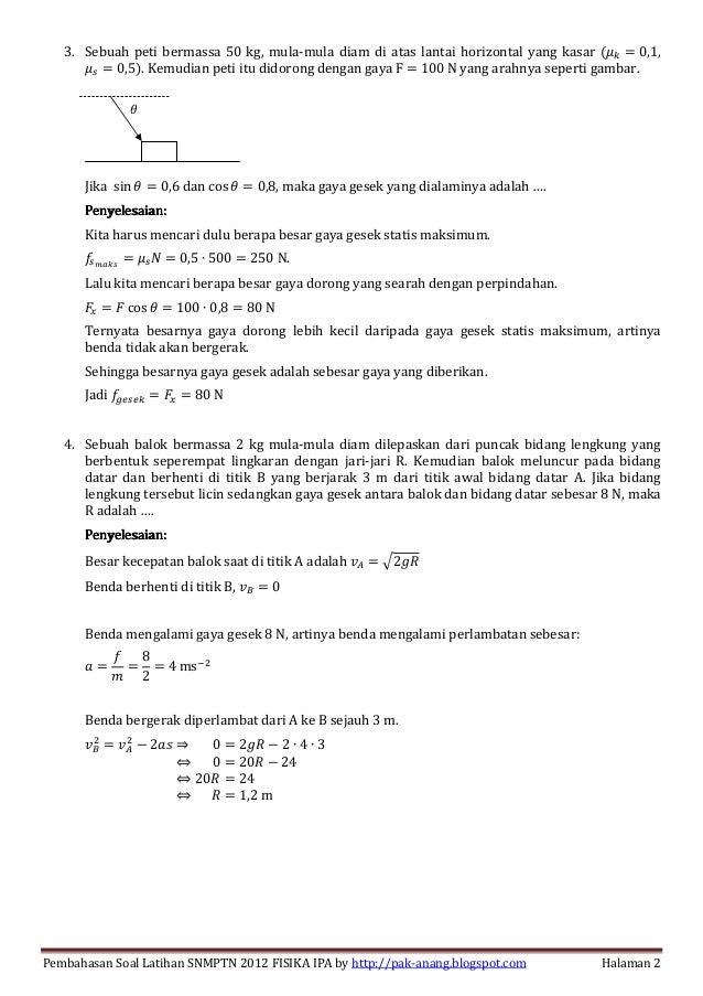 Pembahasan Soal Latihan Fisika Ipa Snmptn 2012 Menjawab Pertanyaan P