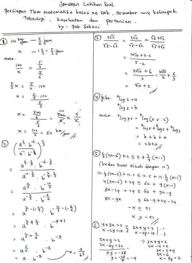 Pembahasan Soal Latihan Persiapan Tkm Matematika Des 2014 Smk