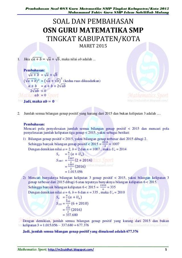 pembahasan soal olimpiade matematika smp pdf free