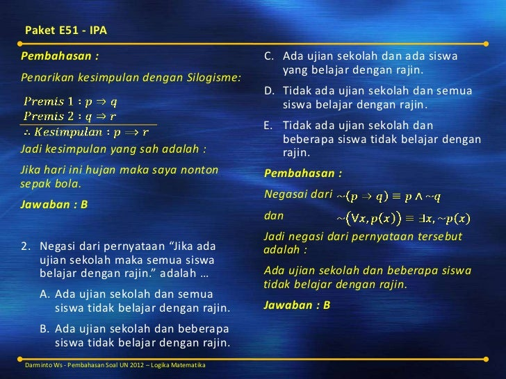 Pembahasan Soal Un Matematika Sma Ma 2012 Logika Matematika