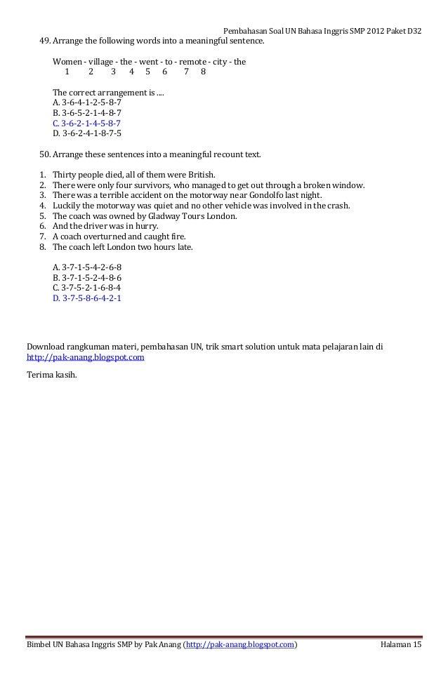 Pembahasan Soal Un Bahasa Inggris Smp 2012 Paket Soal D32