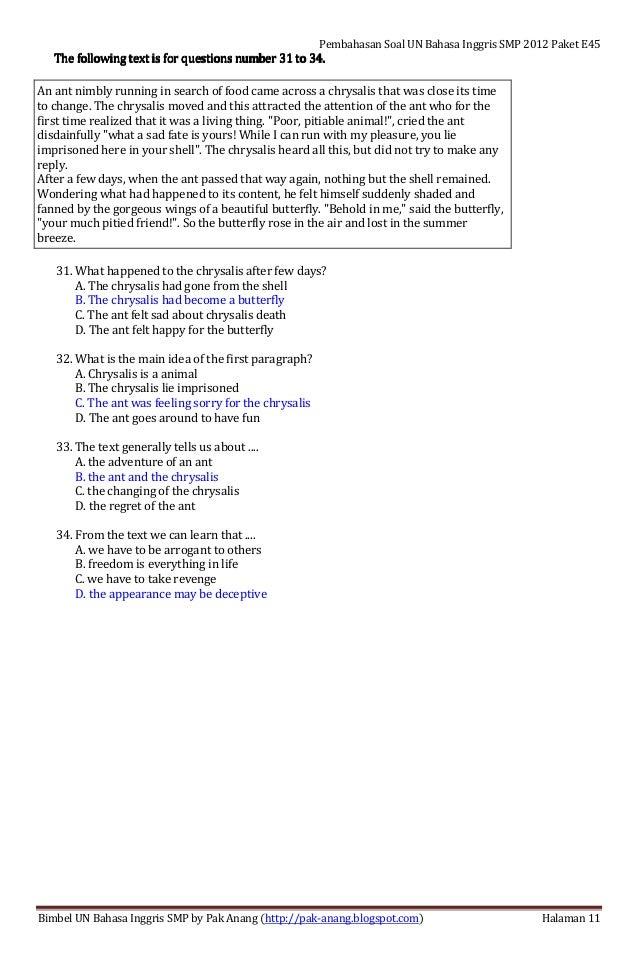 Pembahasan Soal Un Bahasa Inggris Smp 2012 Paket Soal E45