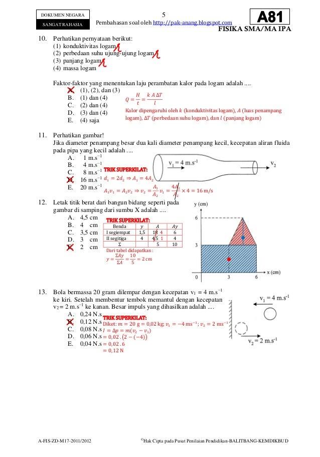 Contoh Soal Ujian Nasional Fisika Sma Dan Pembahasannya Pridekindl