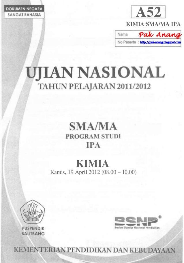 Pembahasan Soal Un Kimia Sma 2012 Paket A52