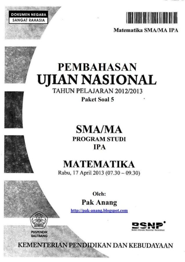 Pembahasan Soal Un Matematika Program Ipa Sma 2013 Paket 5